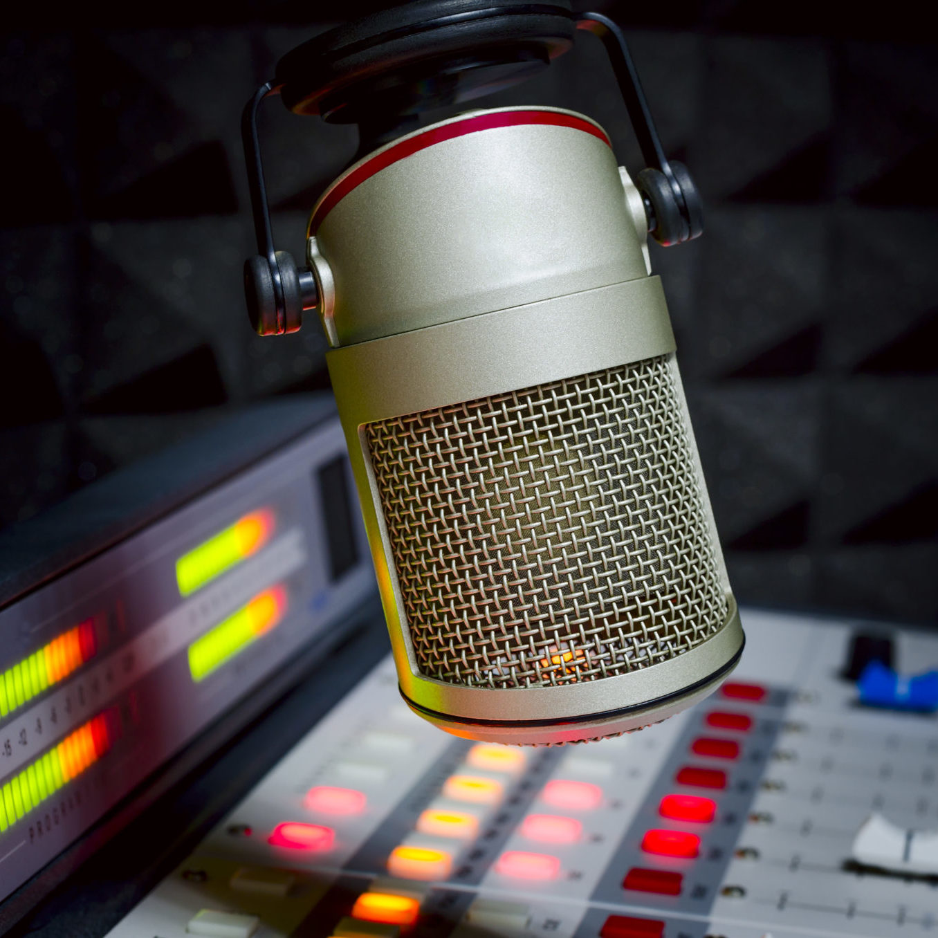 microphone and audio console in the dark radio studio